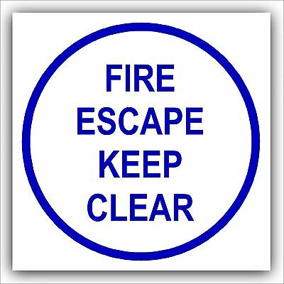 1x Fire Escape Keep Clear-Door Health And Safety Warning Sticker Sign • 1.99£