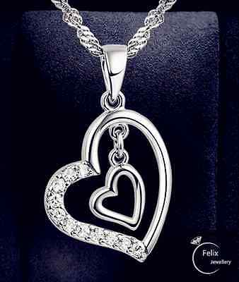 £3.39 • Buy Double Heart Pendant 925 Sterling Silver Necklace Chain Women's Jewellery Gifts