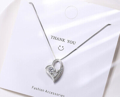 £3.49 • Buy Rose Gold Heart Pendant 925 Sterling Silver Necklace Chain Jewellery Women Gift
