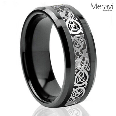 $13.95 • Buy Black Tungsten Carbide Silver Celtic Dragon Ring Mens Jewelry Wedding Band 8mm