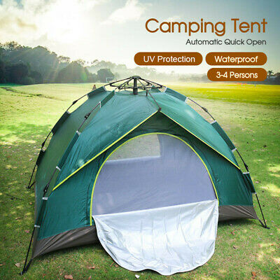 AU44.28 • Buy Outdoor Tent Double Layer Waterproof Automatic Quick Open Camping 3-4 Persons