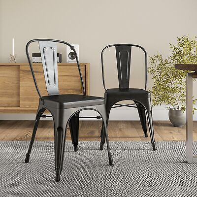 $119.99 • Buy Antique Black Set Of 4 Metal Chairs Stackable Dining Room Chairs Indoor/Outdoor