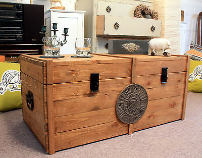 £159 • Buy Large Wooden Chest Trunk Rustic Vintage Storage Blanket Box Coffee Table
