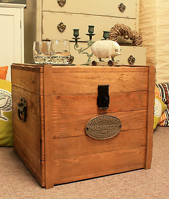 Rustic Wooden Chest Trunk Storage Blanket Box Antique Vintage Coffee Table • 79£