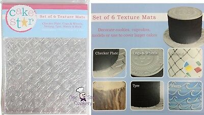 6 Cake Star OUTDOOR ADVENTURE MANLY Impression Mats Sugarcraft Texture Sheets • 8.11£