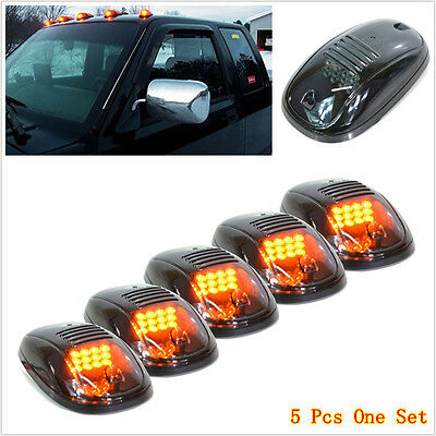 $57.32 • Buy 5Pcs Smoked Amber LED Cab Roof Top Marker Running Lights For SUV Truck Pickup RV