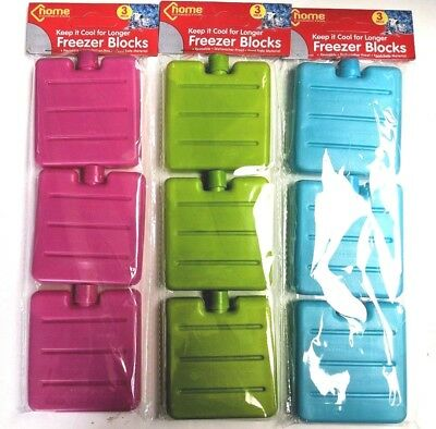 Ice Blocks 6 X Mini - Freezer Cool Bags Ice Boxes Pink Blue Yellow 2 Packs Of 3 • 4.99£