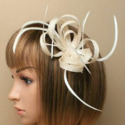 Cream Clip Feather Fascinator Ladies Day Royal Ascot Races Wedding Hair Clip 1 • 4.99£