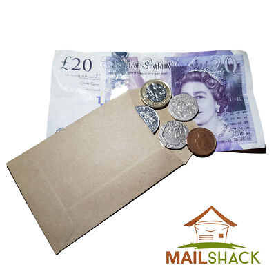 £30.99 • Buy BULK TRADE Small Brown Envelopes 98 X 67mm Dinner Money Wages Coin Beads Seeds