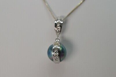 $449 • Buy 18  Blue Mabe Pearl And Diamond Drop Pendant Necklace
