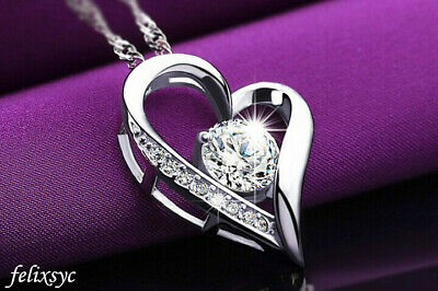 £3.49 • Buy Crystal Heart Pendant 925 Sterling Silver Necklace Chain Women Jewellery Gift UK