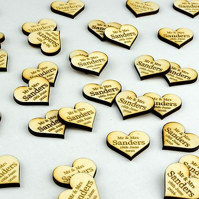 Personalised Wooden Love Heart Table Decorations Rustic Vintage Wedding Favours. • 2.99£