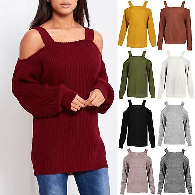 Womens Ladies Straps Off The Shoulder Knitted Baggy Oversized Jumper Top Sweater • 10.49£