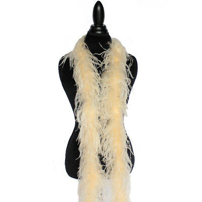 £37.86 • Buy Champagne 2ply Ostrich Feather Boa Scarf Prom Halloween Costumes Dance Decor