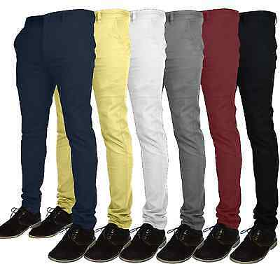 $ CDN22.45 • Buy Mens Designer Chino Trousers Stretch Skinny Slim Fit Jeans Pant Cotton All Size