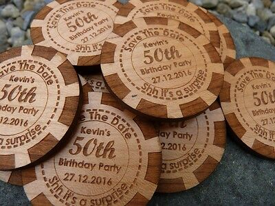 AU44.98 • Buy Poker Chip Save The Date Wooden Magnet: Wedding, Party Invitation Fridge Magnets