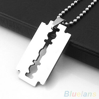 Unisex Stainless Steel Razor Blade Shaped Pendant Dogtag Necklace Brand New • 2.99£