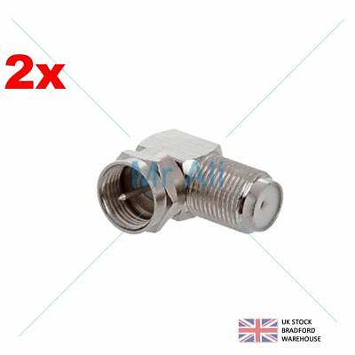 £2.86 • Buy 2 X F CONNECTOR RIGHT ANGLED 90 DEGREE PLUG TO SOCKET ANGLE ADAPTER COAXIAL SAT