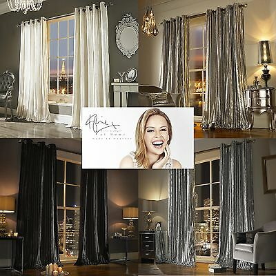 Kylie Minogue Bedding Iliana Lined Eyelet Curtains Sumptuous Velvet New 4 Colour • 89£