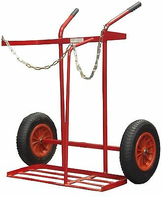 £142.99 • Buy 16'' Pnuematic Tyre Twin Oxygen & Propane Cylinder Gas Trolley Full Size