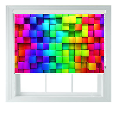 Rainbow Roller Blind Blocks Style Printed Black Out Roller Blind Various Sizes • 100£
