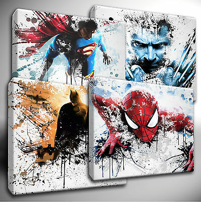 Marvel Avengers / DC Characters Paint Splatter CANVAS Art Picture Prints • 10.99£
