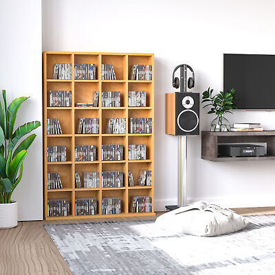 312DVD/480CD Media Storage Shelf Rack Unit Video Wood Bookcase Furniture • 74.99£