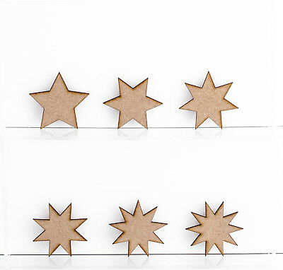 £3.19 • Buy Wooden MDF Star Shapes 3mm Thick Tags Embellishments Decoration Craft