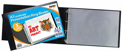 2 X A3 Landscape 4-D Ring Binder + 5 Sleeves Folder File Presentation Portfolio • 22.99£