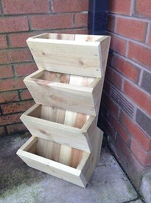 TIER FREE STAND POCKET PLANTERS, WOODEN GARDEN PLANTER  Bulb Herb Bedding  • 23£