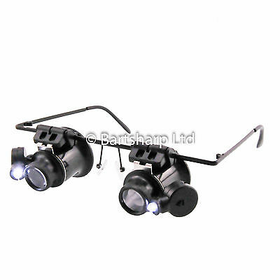 £8.99 • Buy Spectacle Glasses Eye Loupe 20x LED Head Magnifying Glass Magnifier Hands Free