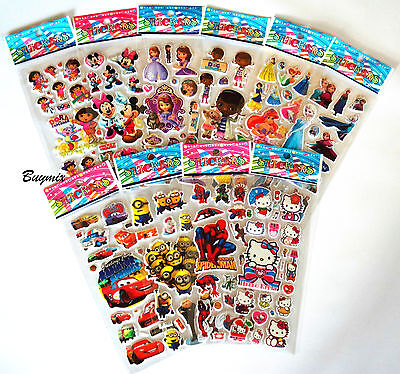 3D Cartoon Character Stickers Party Bag Fillers Christmas Stocking Gift School • 2.99£