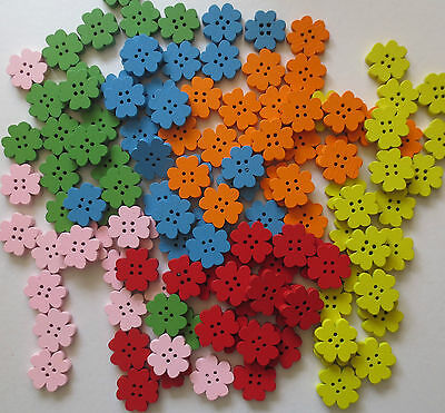 WOODEN 4 HOLE FLOWER SHAPED BUTTONS/CRAFT/SEWING 20MM/VAR COLS/QTY 10, 20 Or 50 • 1.27£