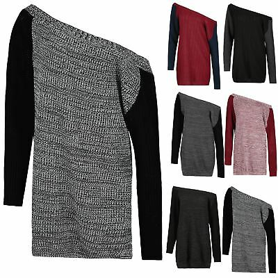 Womens Chunky Knitted Contrast Sweater Ladies Off The Shoulder Top Jumper Dress • 4.94£