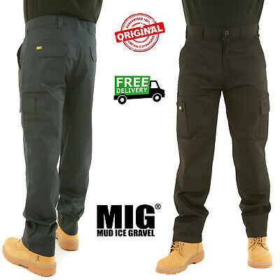 Mens MIG Cargo Work Trousers Size 30 To 42 With KNEE PAD POCKETS COMBATS By MIG • 13.95£