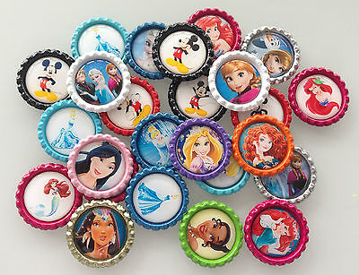 £3.45 • Buy Disney Flattened Bottle Cap With Image - Princess Or Mickey Mouse - Cabochons