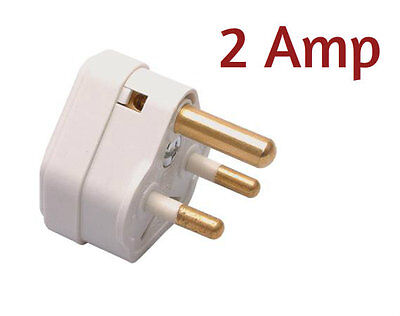 2 Amp 3 Pin Plug With Round Pins In White Plastic Ideal For Table Lamps 2A • 3.99£