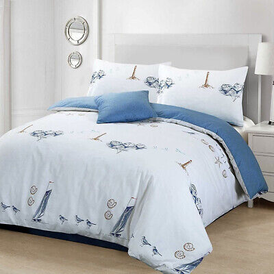 Beachcomber Cotton Duvet Quilt Cover Nautical Boat Ship Lighthouse Bedding Set • 4.99£