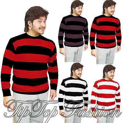 Adults Men's Knitted Jumper Fancy Dress Character Sweaters Casual Stripped Top • 13£