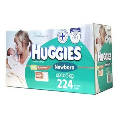 AU72.99 • Buy 224 Huggies Size NEWBORN Baby Boy Girl Disposable Nappy PACK Boys Girls Nappies
