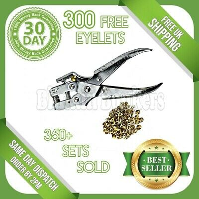 Heavy Duty Craft Fabric Leather Pliers And Brass Gold Eyelets Hole Punch Tool • 7.89£