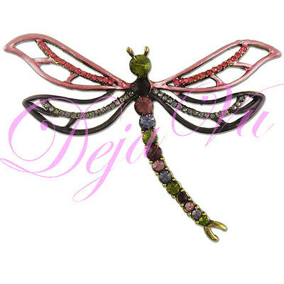 £10.62 • Buy Gold Plate Crystal Pink Purple Dragonfly Brooch Pin Made With Swarovski Elements