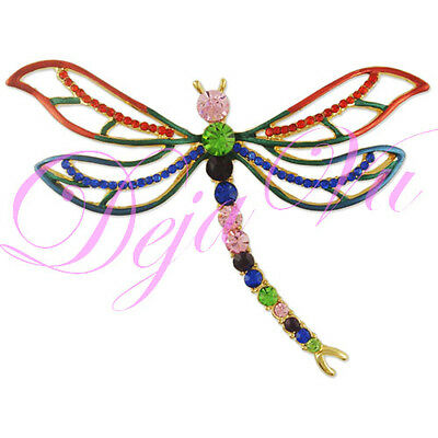 £10.62 • Buy Gold Plated Crystal Red Blue Dragonfly Brooch Pin Made With Swarovski Elements