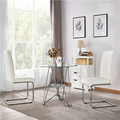 Modern 2/4/6pcs Dining Chairs Leather High Back Sturdy Chrome Legs Office/Cafe • 76.99£