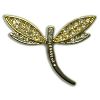 £7.08 • Buy Cute Crystal Dragonfly Gold Plated Pin Brooch Made With Swarovski Elements