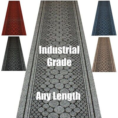 Hallway Stairs Mat Carpet Runner Durable Anti Slip Latex Back Strong Tough • 15£