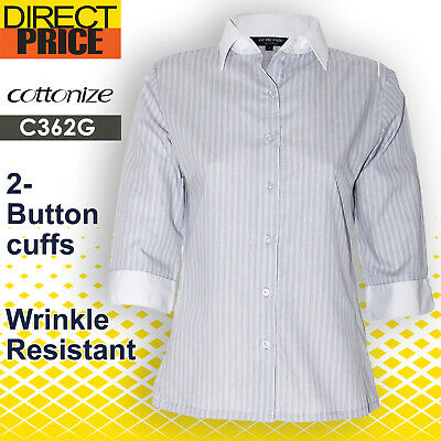 AU22.95 • Buy Women Shirt Blouse Tops White Collar Cuffs Office Casual Formal  Business Grey