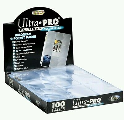 Trading Card A4 Sleeves - 10 Ultra Pro 9 Pocket Platinum Pages MTGPokemon.  • 4.59£