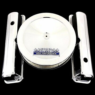 $89.99 • Buy Chrome Valve Covers & Ford Hp Emblem Air Cleaner Fits Ford 352 360 390 427 428