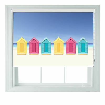 £95 • Buy Beach Huts Themed Blackout Roller Blind For Kitchen Bathroom Various Sizes Rollo